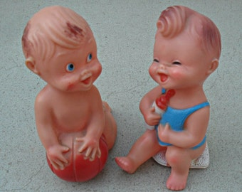 Vintage rubber baby dolls,Italy 1960s-70s ,vintage  rubber toys , rubber toddler dolls  ,baby room decor