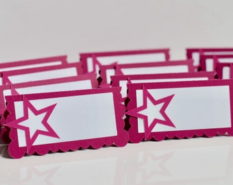 Birthday Girl Inspired Place Cards, Food Tents, doll party, Star Party