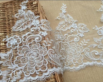 Bridal Alencon Lace Applique Pair in Ivory , Peony Lace Applique Lace with Matching Lace Trim