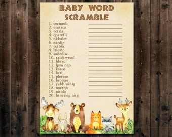 Woodland Baby Shower Game, Word Scramble Game, Printable Woodland Shower game, Forest Animals Baby Shower game Instant Download - 010