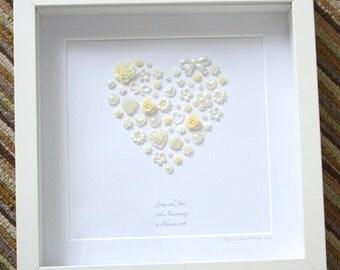 Framed Personalised Pearl Wedding Anniversary Keepsake Artwork - 30th