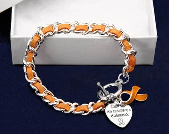 Leather Rope Orange Ribbon Bracelet in a Gift Box (1 Bracelet - Retail) (RE-B-04-5)