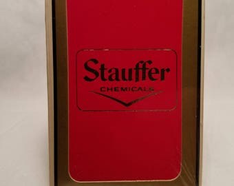 Vintage 1970's Gemaco Bridge Size Stauffer Chemicals Plastic Coated Deck of Sealed Promotional Advertising Playing Cards