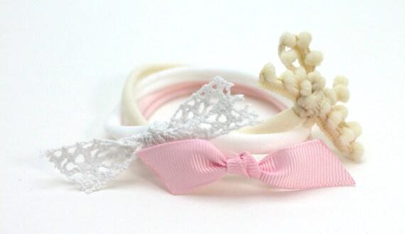 Valentines Headband Set / Newborn Headband / Pink Headband / Baby Headband / Baby Girl Headband / Floral Headband / Rose