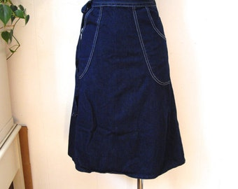 Vintage Blue Denim Wrap 70s Skirt Sz S M