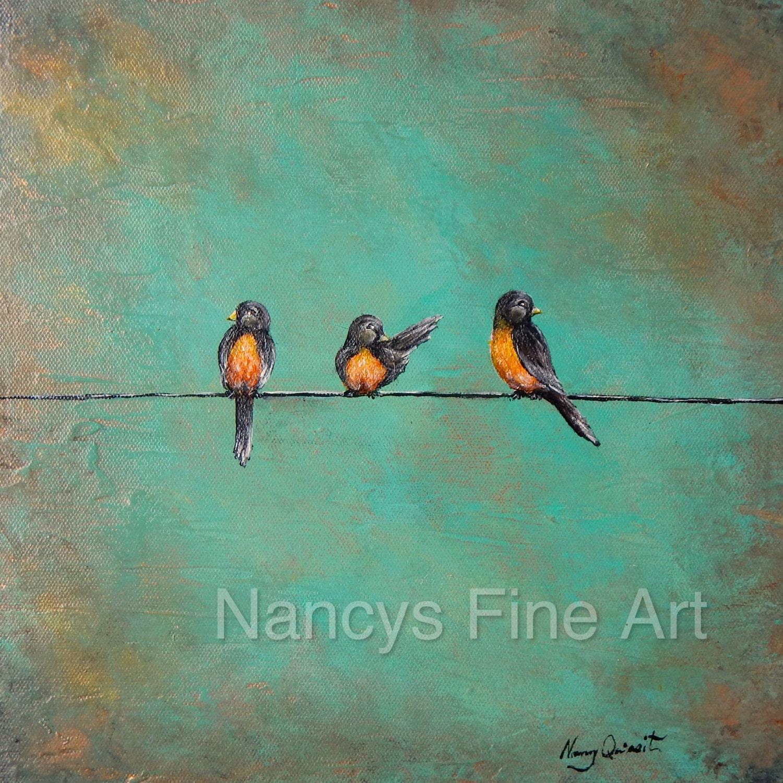 oiseaux sur un fil peinture peinture originale de robin toile. Black Bedroom Furniture Sets. Home Design Ideas