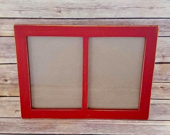 Picture Frame 2 Windows 5 x 7 Red Wood Up Cycled Eco Friendly READY TO SHIP