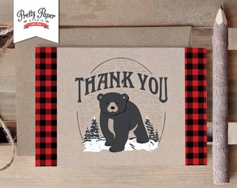 Thank You Card - Baby Bear Lumberjack // INSTANT DOWNLOAD // Lumberjack Birthday Party // Baby Black Bear // Buffalo Plaid // Printable BP09