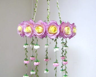 Purple Flower Mobile,Crib Mobile,Girl,Boy,Woodland,Purple Silk Flower Rose Wedding Chandelier,Bridal Baby Shower decor,Hanging Floral Mobile