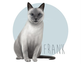 Cat Illustration Custom Pet Portrait Cat Print Cat Lover Gift Custom Pet Drawing Your Cat Realistic Pet Memorial Print Personalized cat