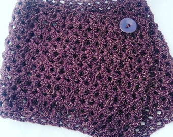 Crochet cowl with button. Purple cowl. Crochet Scarf.