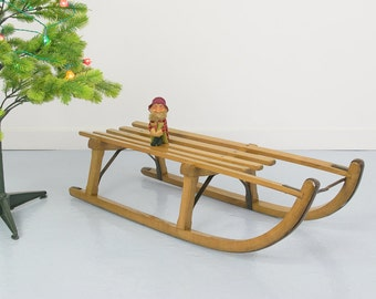 Vintage Wooden Slatted Traditional Sleigh Sledge