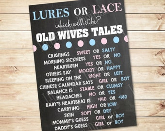 Instant Download - Lures or Lace Old Wives Tales - 3 SIZES Old Wives Tales Poster - Gender Reveal - Boy or Girl- Prediction Board