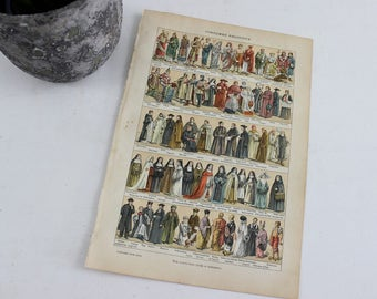 Antiques Prints Wall Art Religious costumes, French Book Page, Vintage Dictionary Print Poster, E355