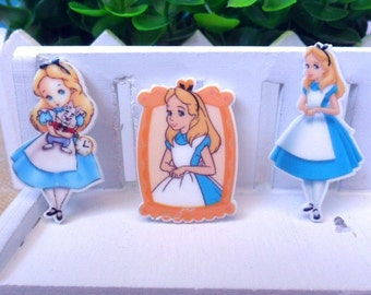 Only .40 each! 6 pcs. ALICE IN WONDERLAND Planar flatback resins Hair bow centers 32mm