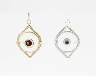 Chinese Celestial Eye Earrings, Sandstone Earrings, Wire Wrapping Earrings