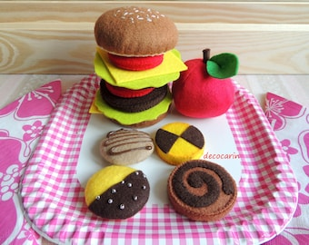 Felt Food, Felt Toy, Big Felt Hamburger, Felt Cheeseburger, Felt Fruit Apple Tomato Roll, pretend play food toy kitchen, Montessori Toy Gift