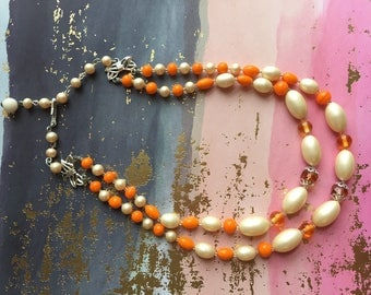 Orange White Necklace Multi Strand Beads Vintage Jewelry