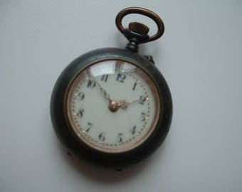Vintage gun metal cased ladies pocket watch