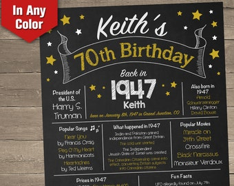 70th Birthday Chalkboard, 1947 Birthday Poster, Adult Birthday Chalkboard, Back in 1947, 70th Birthday Centerpiece, 70th Birthday Gift