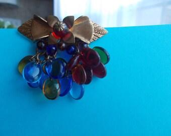 Vintage Gold Leaf Glass Flower Drops Dress Clip