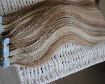 Tape in remy human hair extensions. 3A. 100g 18 inches. 12/613 mix on pics! WOW