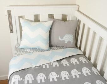 Grey and baby blue elephant, chevron nursery set items