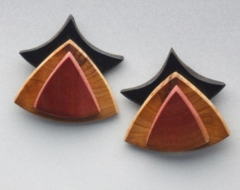 Lathe-turned Wood Earrings