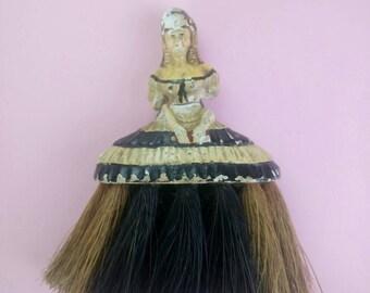 Vintage Victorian Porcelain Half Doll Broom Duster