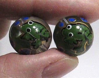 Vintage Pair Hand Painted Frog with Lily Pads Round Beads