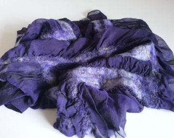Purple Silk Scarf, Nuno Felted Scarf, Wool Silk Chiffon Scarf, Sheer Scarf, Lavender Scarf