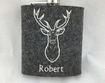 Hip flask with wool felt sheath stag