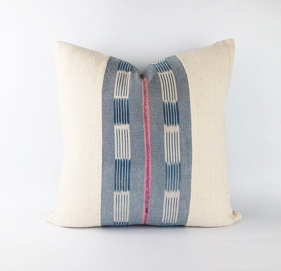 Vintage African Indigo And Pink Mudcloth Textile Pillow Cover 20x20