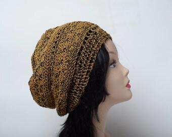 brown black summer cotton hat, knit summer beanie, Women Chunky Hat