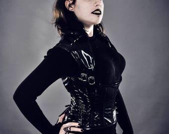 Black PVC Spiked Underbust Goth/Punk/Warrior/Vampire/Steampunk Corset