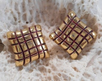 Jones New York Earrings Gold-Tone with Red Accents Square Shaped for Pierced Ears