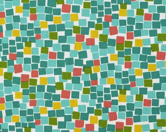 Green Teal Yellow and Red Square Boxes Indoor Outdoor Upholstery Fabric By The Yard | Pattern # A218