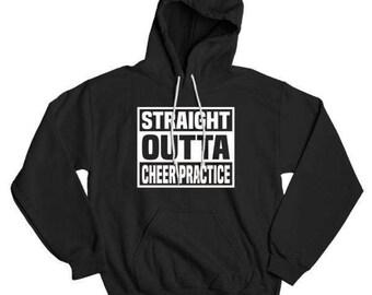 Straight Outta Cheer Practice Cheer-Leading Gymnastics Gym Humor Funny Cheerleader Basic Hooded Sweatshirt DT0104