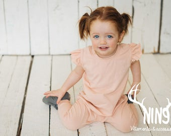 Rompers, overalls, romper, jumper, one-piece, one-piece pink, blush, sleeves with Ruffles, flared, flutter, combination, baby and children