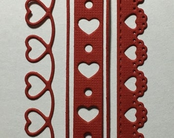 Sweet Love Borders -- set of 3 pieces -- Valentine
