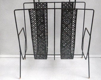SALE 15% off (orig. 26) mcm Mid-Century Modern 1960s black and gold metal wire magazine holder, record rack, MCM Atomic Retro Decor