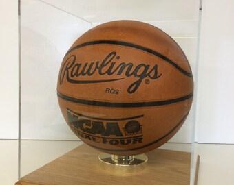 basketball display case full size 85 uv filtering acrylic solid hardwood oak base memorabilia collectible - Basketball Display Case