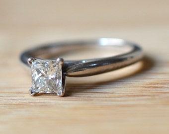 0.76 Carat Princess Cut Diamond Solitaire Ring - Princess Diamond Engagement Ring - Solitaire Engagement Ring - Princess Diamond Ring