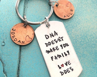 Personalized Step Dad Keychain, Fathers Day Gift For StepDad. Hand Stamped DNA Doesnt Make You Family Love Does, Custom Step Father Gift