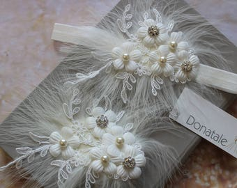 Flower Girl Headband Christening Headband Baptism headband Baby Girl Hair Band Ivory Baby Girl Hair clip Baby Headband Lace Headband