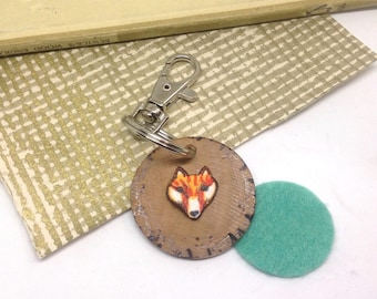 Fox Keychain, Wood Keyring, Wild and Free Quote Key Ring, Pyrography Illustrated Lobster Clasp Planner Bag Charm, Fox Gifts.