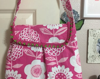 Pink and white flowered shoulder bag