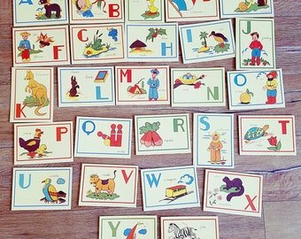 French Alphabet Cards Vintage