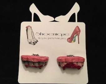 Sculpted Fangs Teeth Vampire Gothic Horror Halloween Blood Shoe Clip Heels Pumps Fashion Handmade Beautiful Sculpture Art Painted Costume