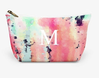 """Pink Make Up Bag, Cosmetic Case, Carrying Pouch, Accessory Pouch 12.5""""x8.5"""" or 8.5""""x6"""""""